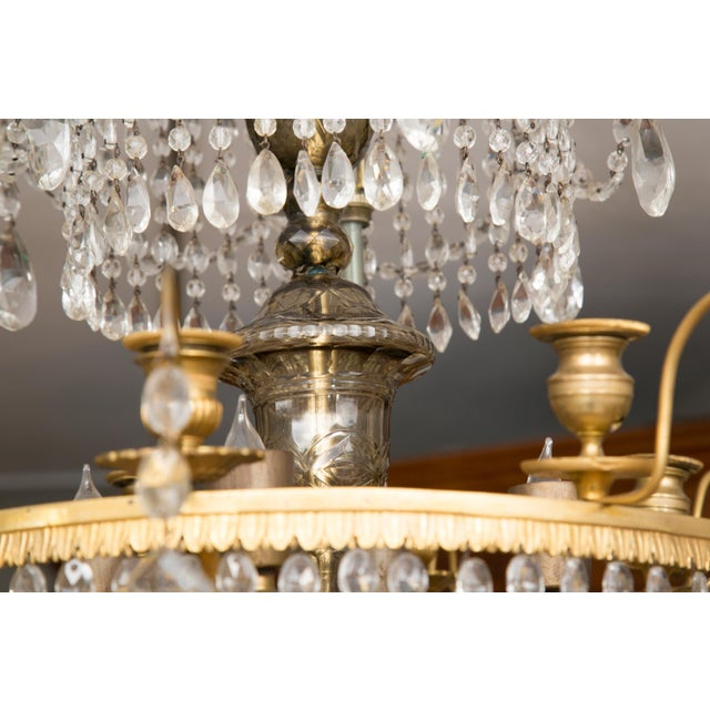 Metal 19th Century Gilt Metal and Crystal Baltic Chandelier For Sale - Image 7 of 13