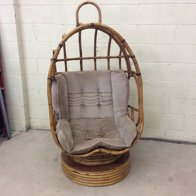 Spring is just around the corner and you need a lounger for your sunroom or covered porch! This vintage bamboo egg chair...