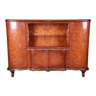 French Art Deco Burled Walnut Bar Cabinet, Circa 1930s For Sale