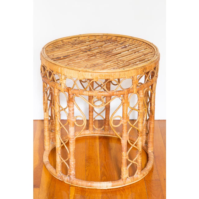 Asian Vintage Boho Chic Rattan Bamboo Side Tables - a Pair For Sale - Image 3 of 5