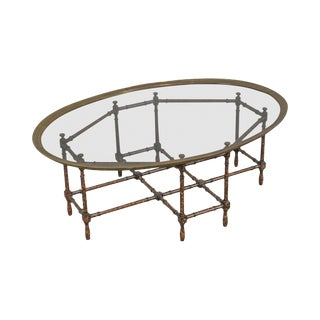 Baker Faux Bamboo Tortoise Shell Painted Brass & Glass Tray Top Coffee Table For Sale