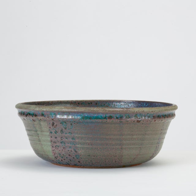 1960s Blue Studio Pottery Serving Bowl For Sale - Image 5 of 12