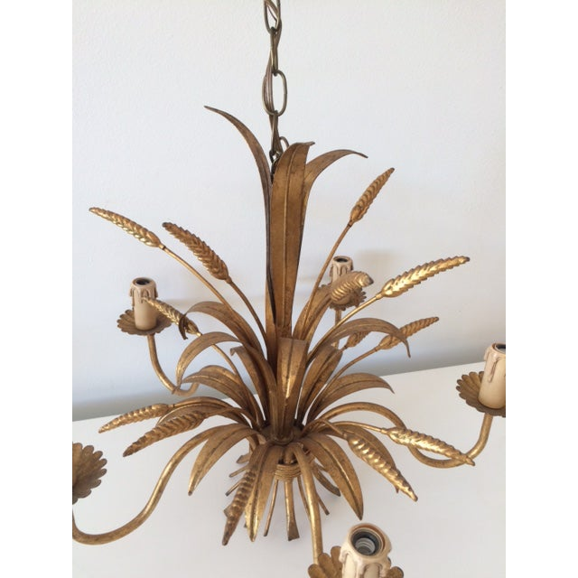 Vintage Hollywood Regency Gilt Wheat Metal Chandelier - Image 7 of 10