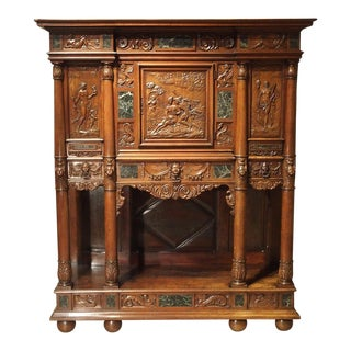 Period Napoleon III Walnut and Marble Buffet Cabinet From France, Circa 1860 For Sale