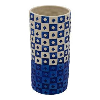 West Elm Retired Blue & Off-White Vase or Planter For Sale