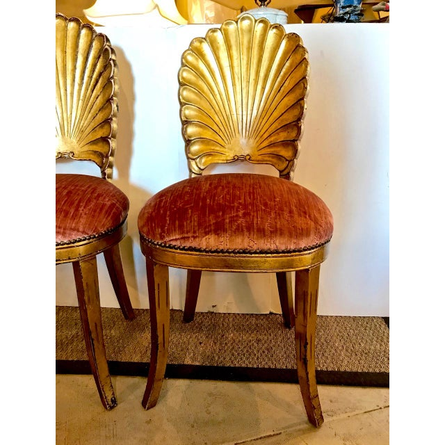 Pair Gold Leafed Shell-Form Side Chairs For Sale - Image 4 of 8