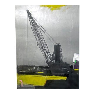 Large Conceptual Mixed Media Photo / Cargo Ship / Paint on Blueprint For Sale