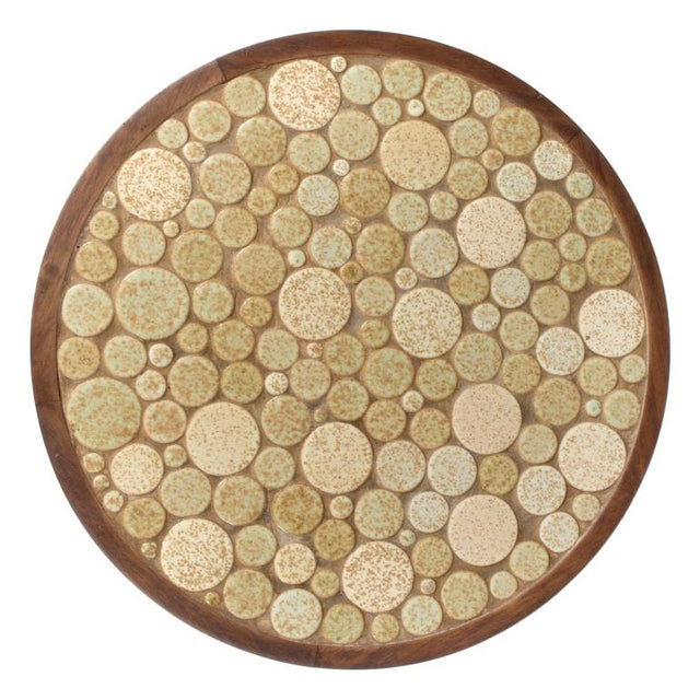 Mid-Century Modern Gordon Martz Oatmeal Tile Top Pedestal Table For Sale - Image 3 of 5