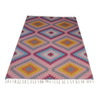 "Turkish Reversible Flat Weave Diamond Wool Kilim Rug - 5'3"" X 7'6"" For Sale"