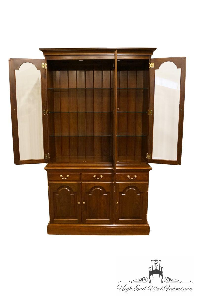 Stickley 20th Century Traditional Stickley Furniture Solid Cherry China  Cabinet For Sale   Image 4 Of
