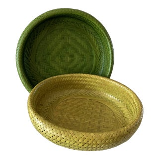 Natural Woven Seagrass Baskets- Set of Two For Sale
