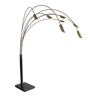 1970s Large Brass Arc Floor Lamp, Italy For Sale