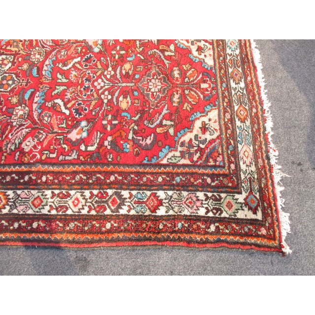 Vintage Red Floral Wool Persian Rug - 3′1″ × 6′1″ - Image 9 of 11