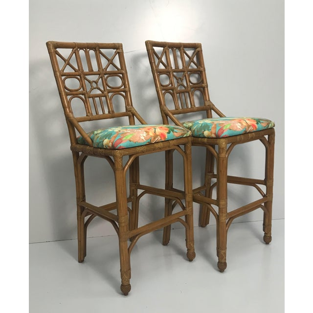 1960s Rattan Bar Stools With Carved Pineapple Feet - a Pair For Sale - Image 4 of 9