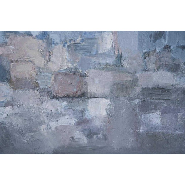 Gray 1980s Vintage Moody Painting Attributed to Spanish Artist Gloria Saez For Sale - Image 8 of 10
