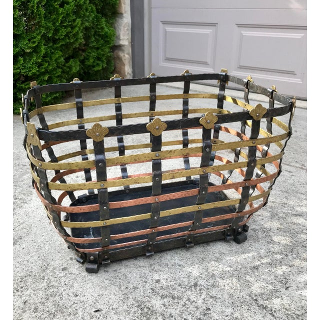 Vintage Mid Century Antonio Vignola Italy Storage / Fire Wood Basket For Sale - Image 4 of 13