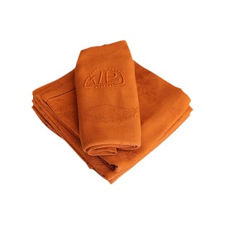 Antique French Pumpkin Napkins, S/6 For Sale