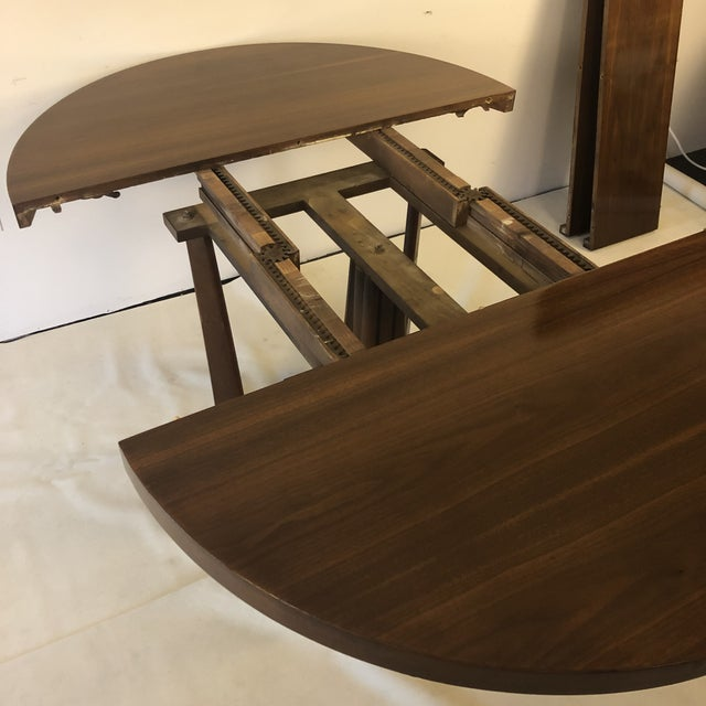 1960s 1960s Danish Modern Walnut Base Dining Table With 2 Leaves For Sale - Image 5 of 13
