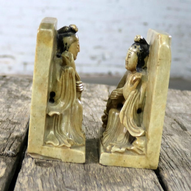 Antique Carved Soapstone Bookends With Chinese Figures and Teapot Detail For Sale - Image 4 of 13