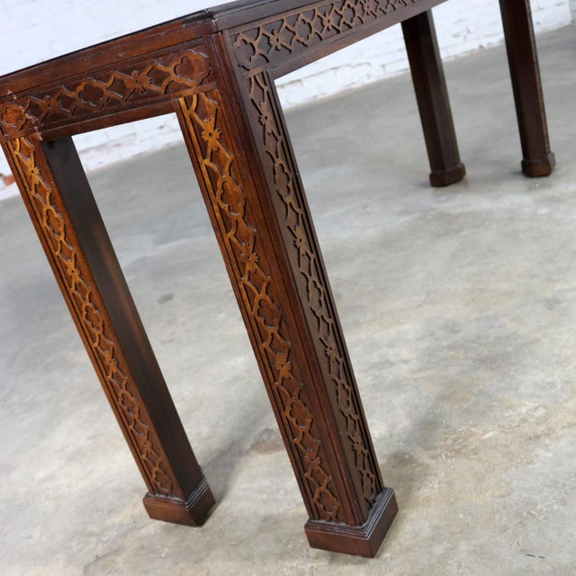 Henredon Chinese Chippendale Chinoiserie Console Sofa Table Dark Finish and Fretwork For Sale - Image 9 of 13