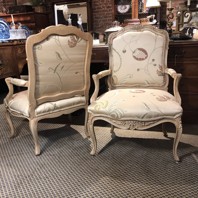 Fabric French Louis XV Style Polychromed Faiteuils -A Pair For Sale - Image 7 of 10