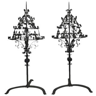 1980s Monumental Wrought Iron Candelabras - a Pair