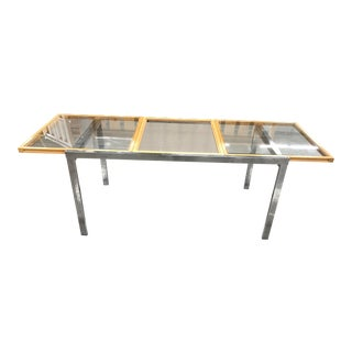 Mid-Century Milo Baughman Style Glass Top Chrome Extension Dining Table For Sale