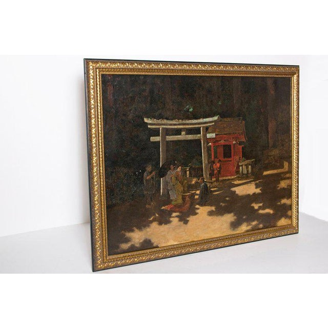 "Asian Late 19th Century Francis Neydhart Oil on Canvas ""A Courtyard Ceremony, Nikko"" For Sale - Image 3 of 13"