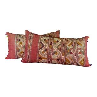 Textiles: Laotian Prayer Shawl Pillows, Vintage, Signed For Sale