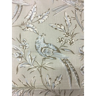 Scalamandre Aviary Taupe Linen Print Multi-Purpose Fabric - 5.5 Yards For Sale