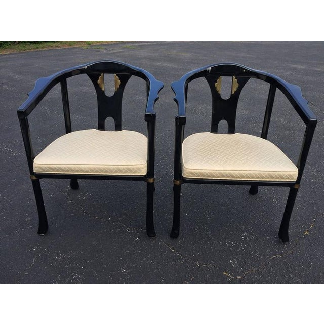 Century Asian Style Lacquered Armchairs - A Pair For Sale - Image 10 of 11