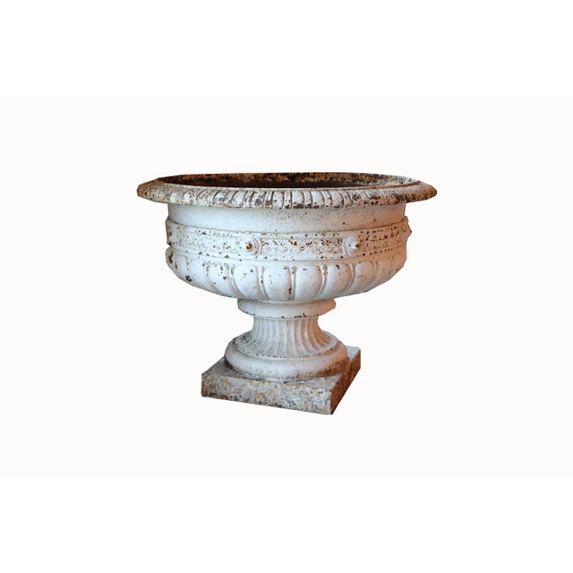 Metal French Cast Iron Planter With Pedestal Base For Sale - Image 7 of 7