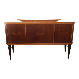 French 1940's Moderne Marquetry Sideboard and Bar For Sale