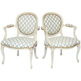 Pair of Painted Fauteuils For Sale