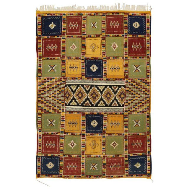 Black Berber Moroccan Kilim Rug with High-Low Pile, Flat-Weave Rug with Tribal Style For Sale - Image 8 of 8
