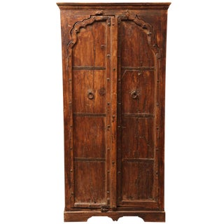 Gujarat Indian Carved Sheesham Wood Cabinet with Iron Hardware, 19th Century