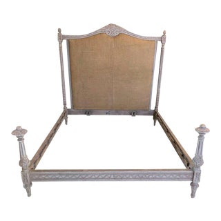 Swedish Paint Decorated Gustavian Style Queen Size Bed with Rails and Footboard