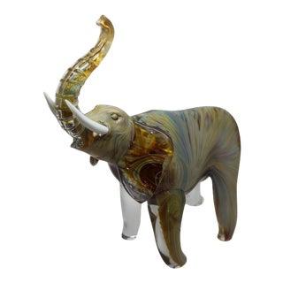 Oscar Zanetti - Elephant in Calcedonia Glass For Sale