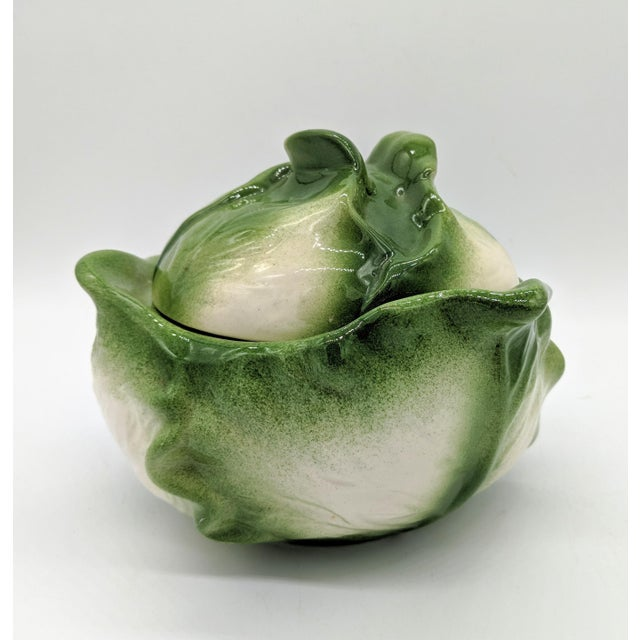 20th Century Cottage White and Green Holland Mold Cabbage Dish For Sale - Image 4 of 11
