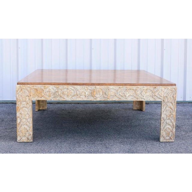 Oak parquetry top with carved creme painted frieze with distressed surface and square section legs.