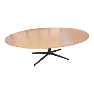 Florence Knoll Oak on Chrome Dining Table For Sale