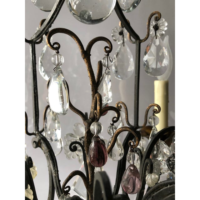 Vintage French Black Iron and Crystal Chandelier For Sale - Image 11 of 13