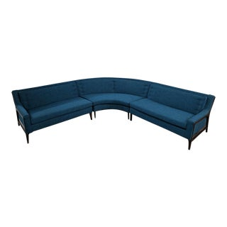 Mid-Century Blue Tweed Fabric Sectional Sofa