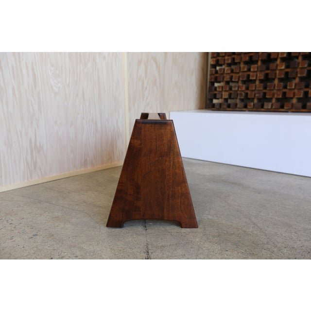 John Nyquist Mid 20th Century John Nyquist Handcrafted Shedua Wood Magazine Rack For Sale - Image 4 of 10