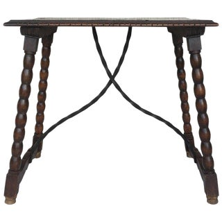 19th Spanish Baroque Side Table With Iron Stretcher and Carved Top in Walnut For Sale