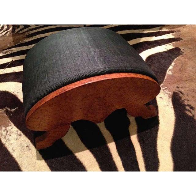 19th Century Biedermeier Burr Walnut Footstool Upholstered in Horsehair For Sale - Image 4 of 5