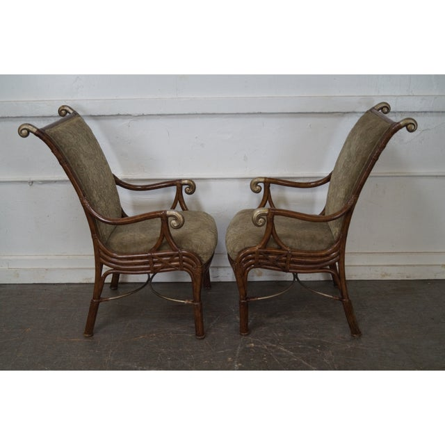 Traditional Acacia Home & Garden Rattan Arm Chairs - Set of 6 For Sale - Image 3 of 10