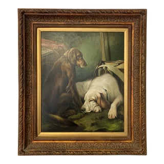 1900s Figurative Oil on Canvas Painting of Two Dog Portrait in a Large Frame For Sale