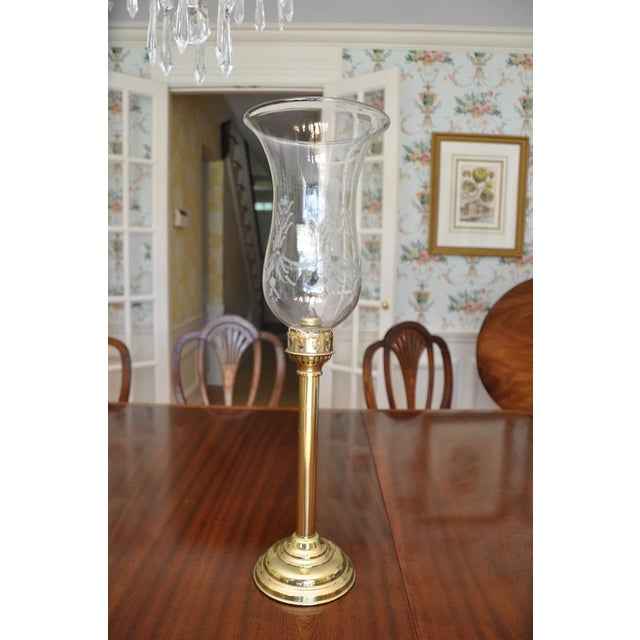 19th Century Acid Etched Hurricane Shade on Brass Base For Sale - Image 13 of 13