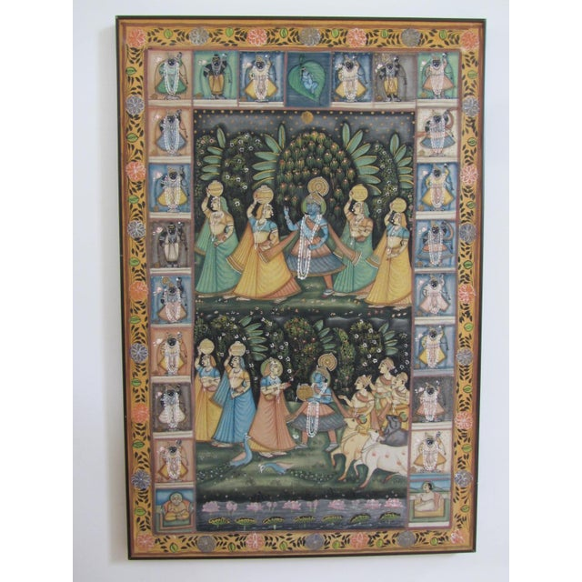 Vintage Hand Painted Indian Silk Tapestry - Image 2 of 8